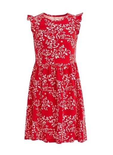 DeFacto Kız Çocu Çiçek Desenli Kolsuz Pamuklu Elbise Kırmızı